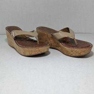 SAM EDELMAN Romy Pat. Nude Wedge Sandal Sz 6.5